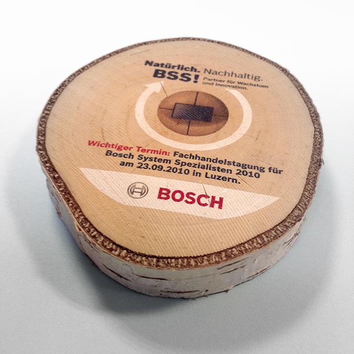 Direktdruck auf Holzscheibe, Agentur, Werbeagentur