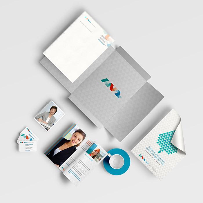 Corporate Design Angebotsmappe Visitenkarten Blöcke