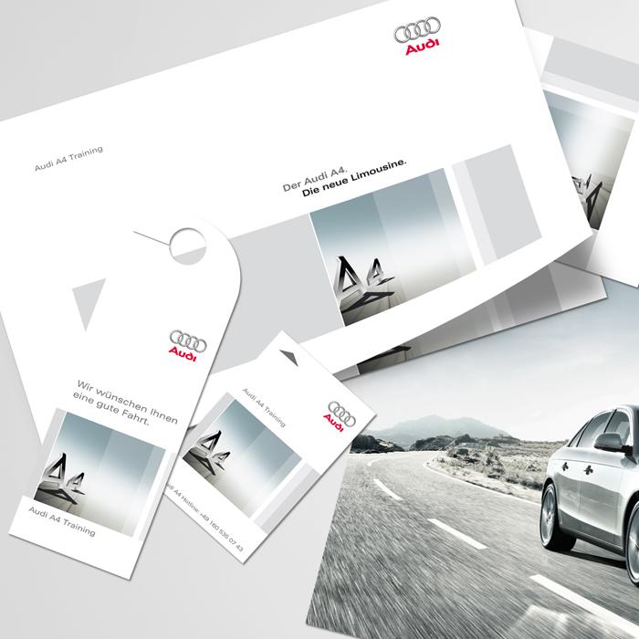 Flyer, Türanhänger, Print, Messe, Interieur, Audi