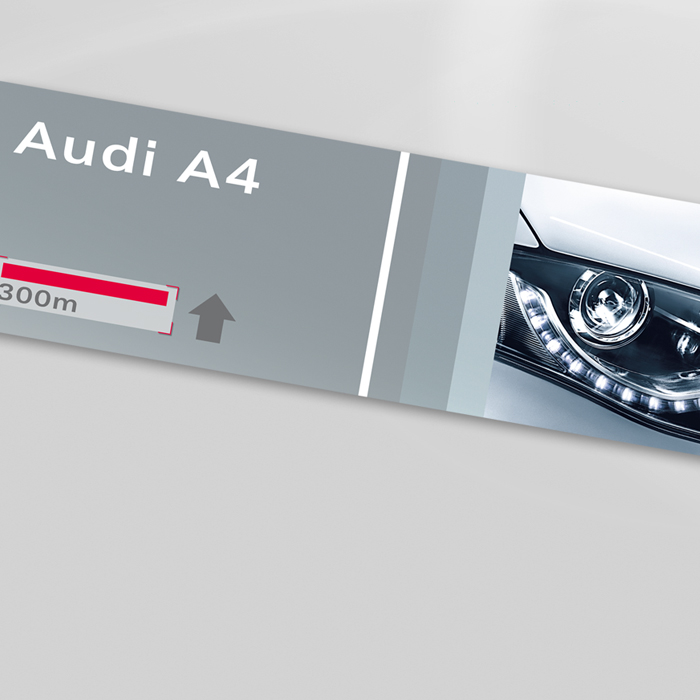 Wegweiser, Print, Messe, Interieur, Audi