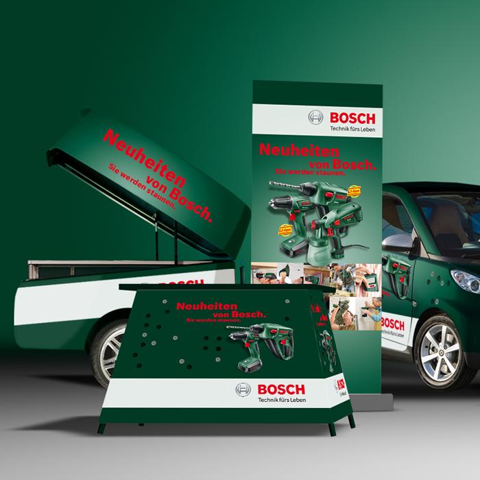 Smarte Tage, Bosch, Autobeschriftung, Print, Messe, Interieur